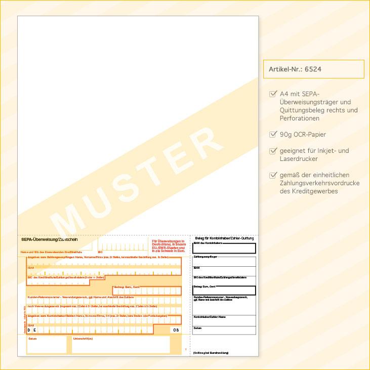 SEPA-Überweisungsvordruck DIN A4, 90g – Quittungsbeleg rechts ...